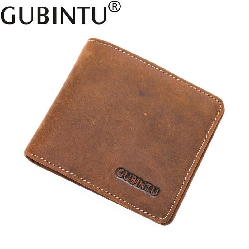 Gubintu Genuine Leather Small Handy Portfolio Men Wallets Purse Thin Male Card Clutch Bags Money Portomonee Cuzdan Vallet Walet