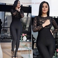 2017 black wine red Sexy Women Jumpsuit long sleeve Mesh plaid Bodycon Bandage Jumpsuits rompers patchwork bodysuit vestidos