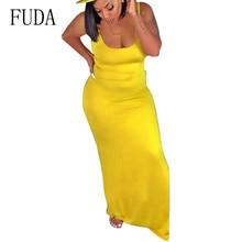 FUDA Womens Fashion Dress Sexy Sleeveless Hollow Out Maxi Slim Yellow Bodycon Summer Casual Party Dresses Robe Longue