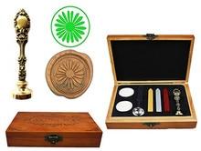 Sunflower Vintage Custom Luxury Wax Seal Sealing Stamp Brass Peacock Metal Handle Sticks Melting Spoon Wood Gift Box Set