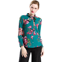 Plus Size S 4XL Women S Elegant Design 2017 Summer Slim Printed Shirts Long Sleeve Turn