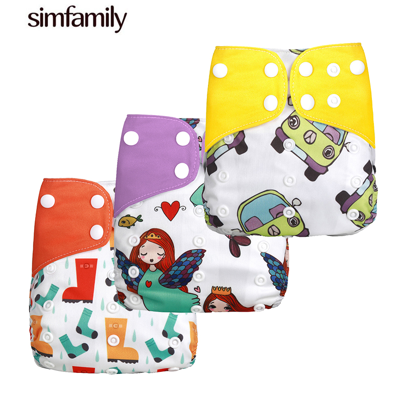 [simfamily]2018 New 3pcs/set Washable Cloth Diaper Cover Adjustable Nappy Reusable Cloth Diapers Available 0-2years 3-15kg Baby