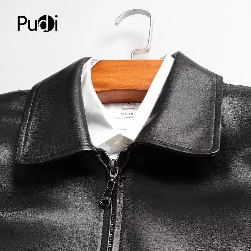 PUDI MT816 2018 ผู้ชายใหม่แฟชั่น sheep หนังแจ็คเก็ตกับ turn   down collar ฤดูใบไม้ร่วงฤดูหนาว casual outwear-ใน แจ็กเก็ต จาก เสื้อผ้าผู้ชาย บน   3