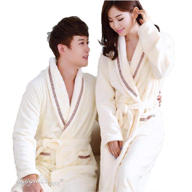 0fecd6fd6c Warm Winter Hooded Bathrobe Cotton Flannel Pyjama Couples Bathrobes Kimono Dressing  Gown Sleepwear Robes For Women Men Home Wear