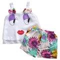 2016 Модные Девушки Дети без бретелек большие глаза Летом Наряды Повседневная Жилет + Цветочные Шорты 2 шт. Одежда Набор