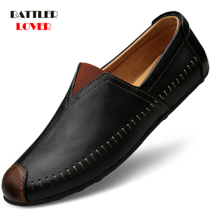 Genuine Cow leather Mens Loafers Fashion Handmade Shoes Moccasins Breathable Leather Slip On Men