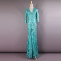 High Quality 2017 Spring Newest Fashion Luxury Diamond Sky blue Shiny Slim V Neck Nail Bead Embroidery Formal Long Dress