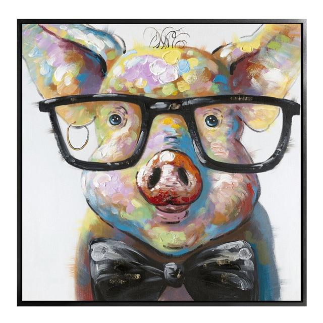 Hand Painted Modern Abstrak Kartun Hewan Babi Memakai Kacamata