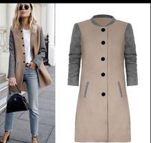 Cssayavi женские пальто Зимняя коллекция 2017 г. мода хит цвет лоскутное карман длинное пальто повседневная o-образным вырезом Длинные рукава один однобортный Кардиган