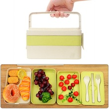 3 Layers Microwave Bento Box Wheat Straw Plastic Lunch Boxs Kids Picnic Camping Container For Food Storage Solid Lunch Box