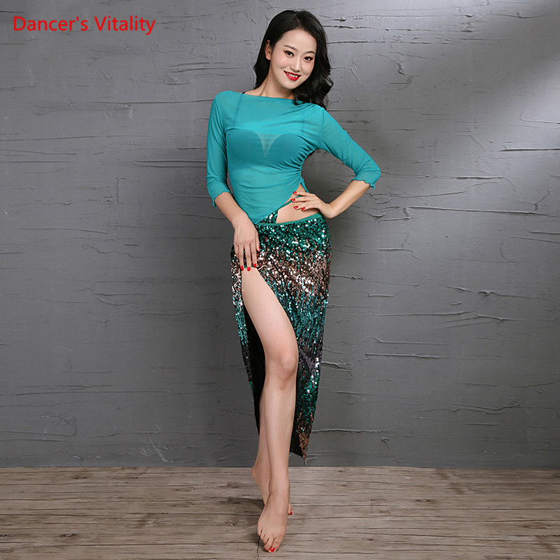 New Blue Peacock Women Belly Dance Costume Set 3 Piece Sexy Transparent Top Sequins Hip Scarf Clothes Dancer