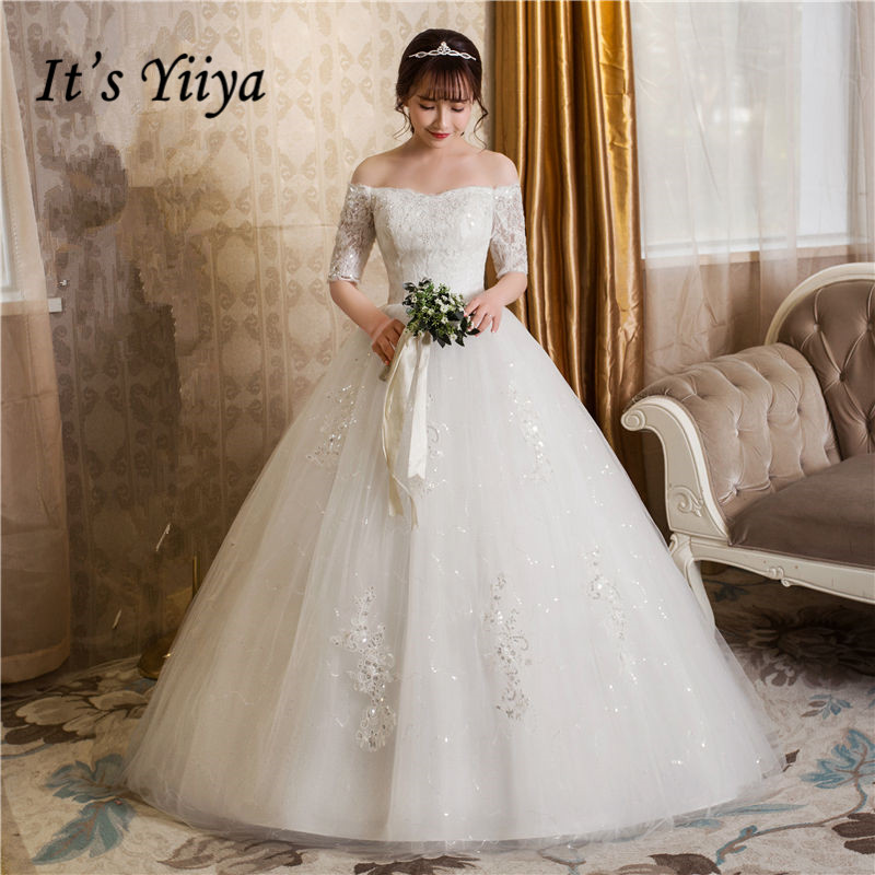 It's YiiYa Wedding Dress Boat Neck Embrodiery Floor Length White Wedding Dresses Short Sleeve Lace Up Bridal Ball Gown HS247