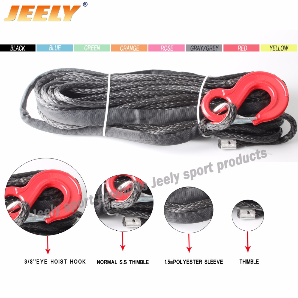 цены  Free shipping UHMWPE Synthetic Winch Rope With HOOK & Thimble 10MM*30M/Piece For ATV/UTV/SUV/4WD/4x4