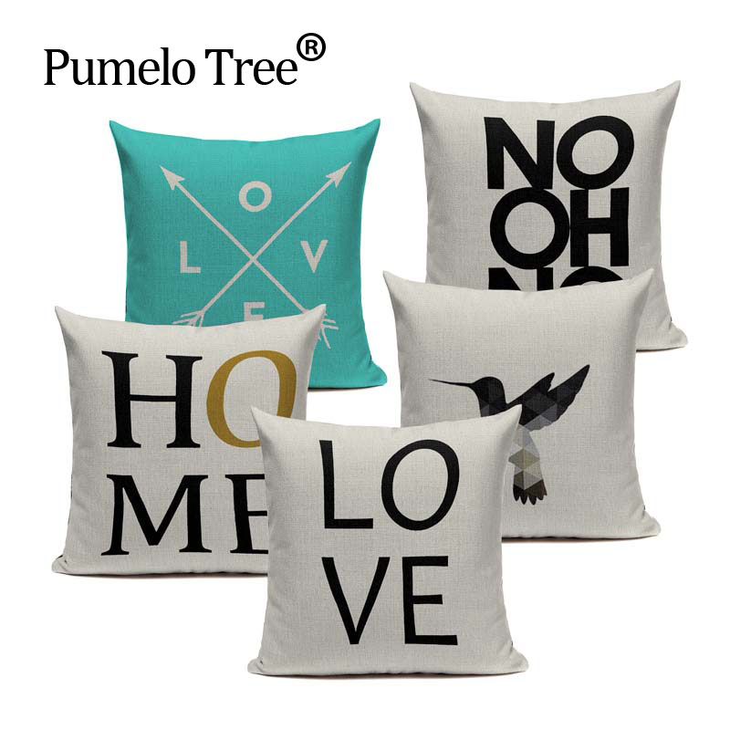 Animal Love Nordic Cushion Cover Black White Geometric house cushion Sofa Pillow Seat Minimalist Home Decor capa de almofada