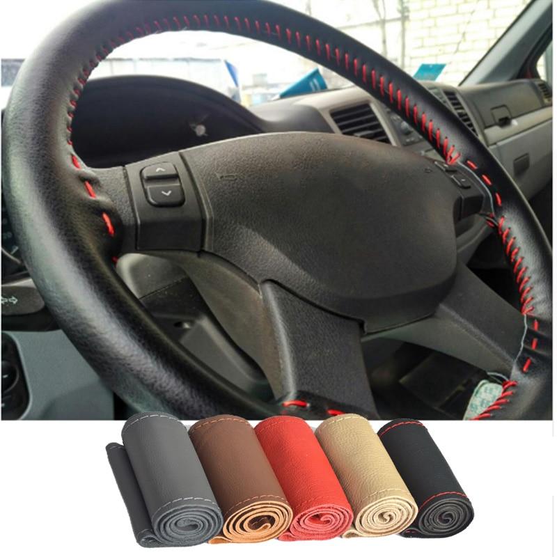 WJ DIY Genuine Leather Car Steering Wheel Cover Soft Anti slip 100% Cowhide Braid With Needles Thread 36/38cm Size Car-styling недорго, оригинальная цена