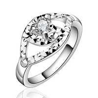 Anillos de plata de ley 925 anillo de compromiso de cristal de piedra grande de los anillos para mujer anillo de boda de piedra de plata R596