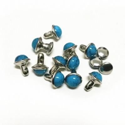 DIY100PCS 10mm Riem Tas Schoenen Accessoires Blauw Turquoise Crack Klinknagels Lederen Craft Punk Studs Verzending Gratis