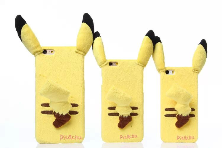 timeless design 10f9b eca38 US $7.99 |Cute Pikachu plush phone case cover for Apple iphone 6plus / 6 /  5/5s 3 models with 3D ear and tail free shipping cartoon case on ...