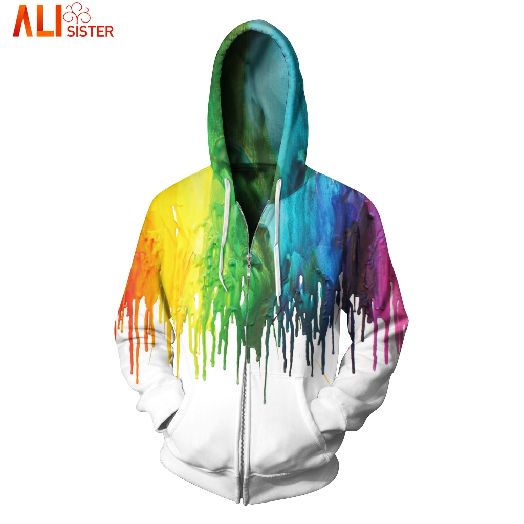 3D Rainbow Splash Paint Zipper Hoodies Sportswear Alisister Men's Hoody Sweatshirt Plus Size 2020 Autumn Winter Pullover Tops