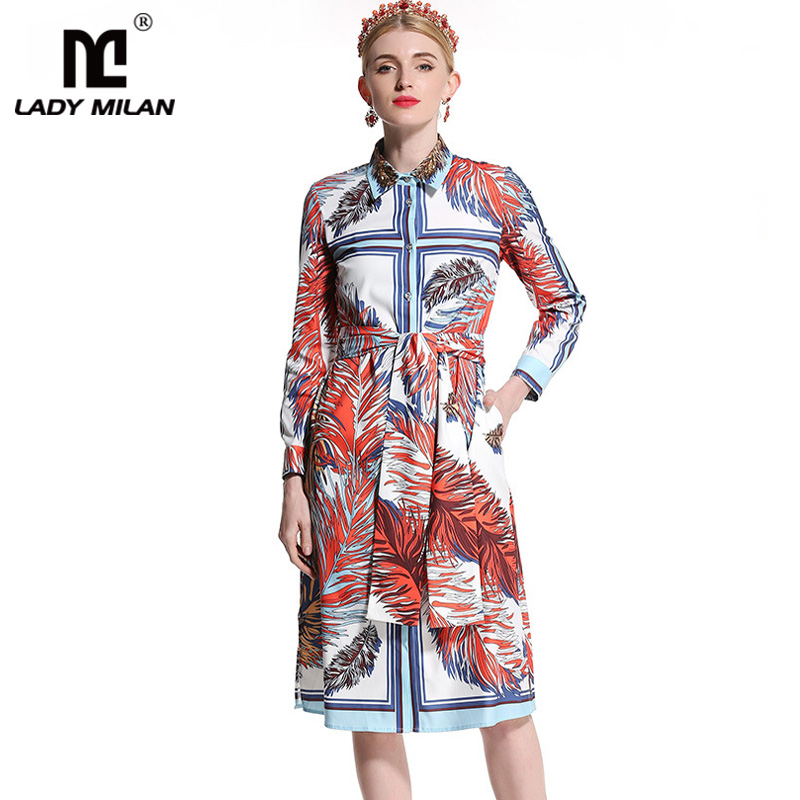 2018 Womens Beaded Turn Down Collar Long Sleeves Printed Sash Belt High Street Fashion Casual Dresses