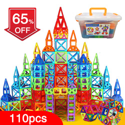 QBW 110pcs Magnetic Blocks Magnetic Designer Building Construction Toys Set Magnet Educational Toys For Children Kids Gift
