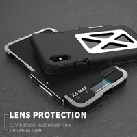 R JUST Luxury Iron Man ShockProof Case for IPhone XS Max Xr 8 7 6 6s plus Flip Aluminum Metal 360 Protective Armor Phone Case