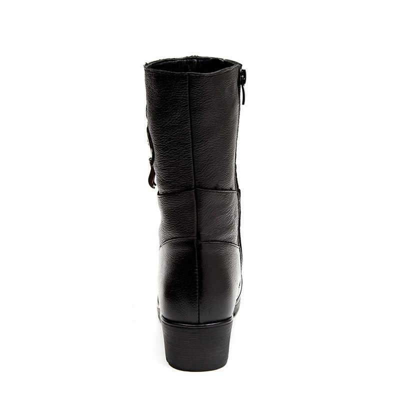 DRKANOL moda kristal kama kadın botları hakiki deri orta buzağı peluş kış sıcak kar botları kadın pamuk çizmeler Botas Mujer