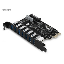 YOTTAMASTER CA30-7P USB3.0 7 TYPE-A Ports Super Speed 5 Gbps PCI-E Express Card avec un 15pin SATA Connecteur D'alimentation