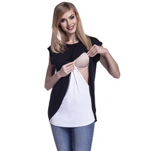2018 Newly Breastfeeding T-shirt Summer Short Sleeve Round Collar Maternity Women Nursing Clothes Pregnancy Tops Size S-XL