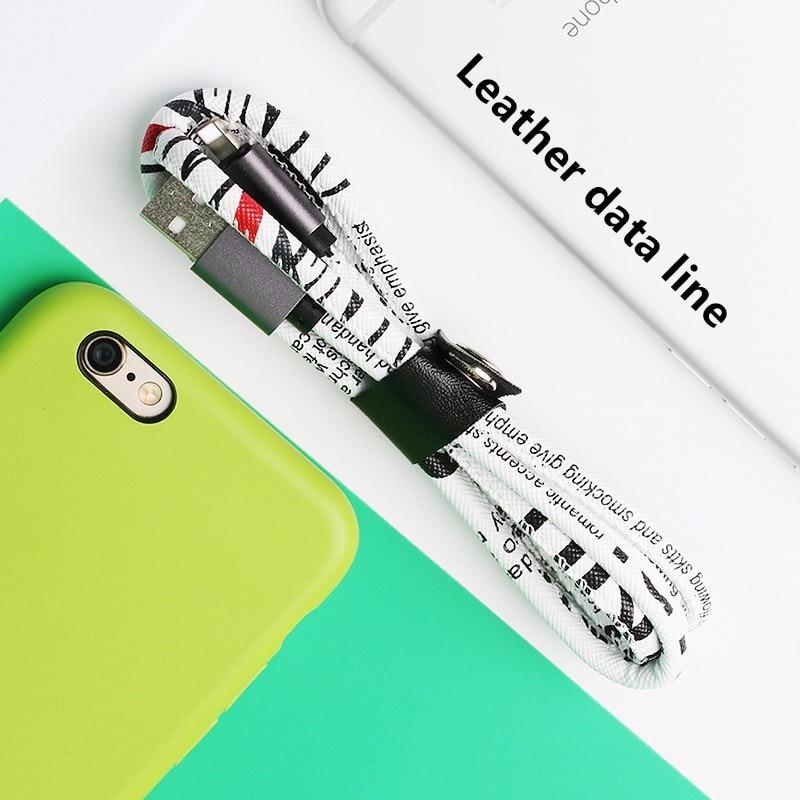 Новый кожаный зарядный кабель для iPhone 6 7 8 X XR, стильный USB микро кабель 100 см 2A, быстрая зарядка для мобильного телефона, зарядное устройство
