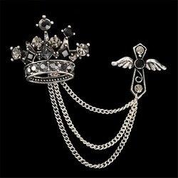 Bijoux de mode En Gros Couronne Belle Femmes Broches Cristal Noir Vintage Aile À La Mode Grand Cadeau Mignon Broches Pour Hommes
