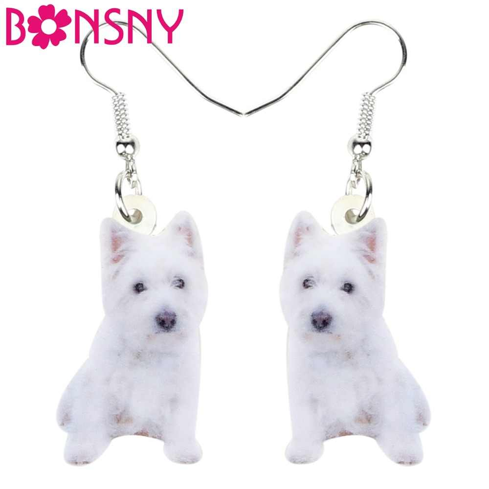 Bonsny Acrylic West Highland White Terrier Earrings Dangle Drop Fashion Pet Jewelry For Women Girls Teens Lovers Accessories