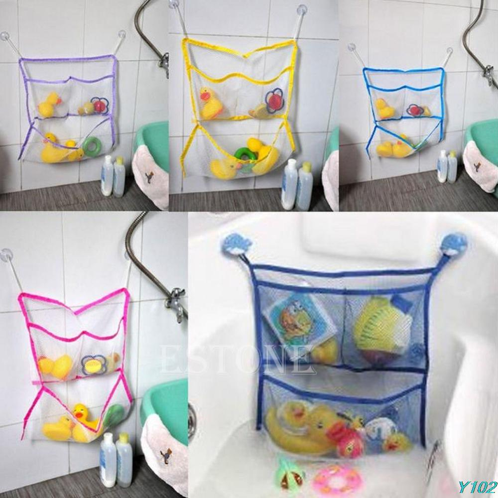 Suction Net Bag Home Bathroom Bathtub Bath Baby Kid Storage Organizer Tidy Toy