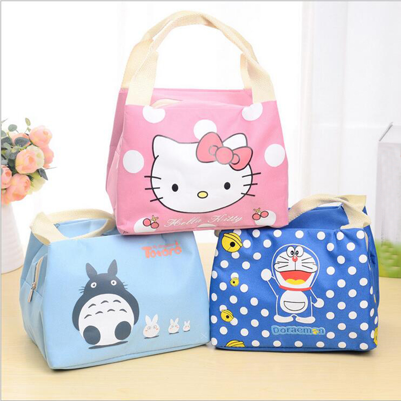 Fashion Portable Cartoon Cat Thermal Cooler Insulated Waterproof  Lunch Carry Storage Picnic Bag Pouch Lunch Bag for Women Kids cute cartoon women bag flower animals printing oxford storage bags kawaii lunch bag for girls food bag school lunch box z0