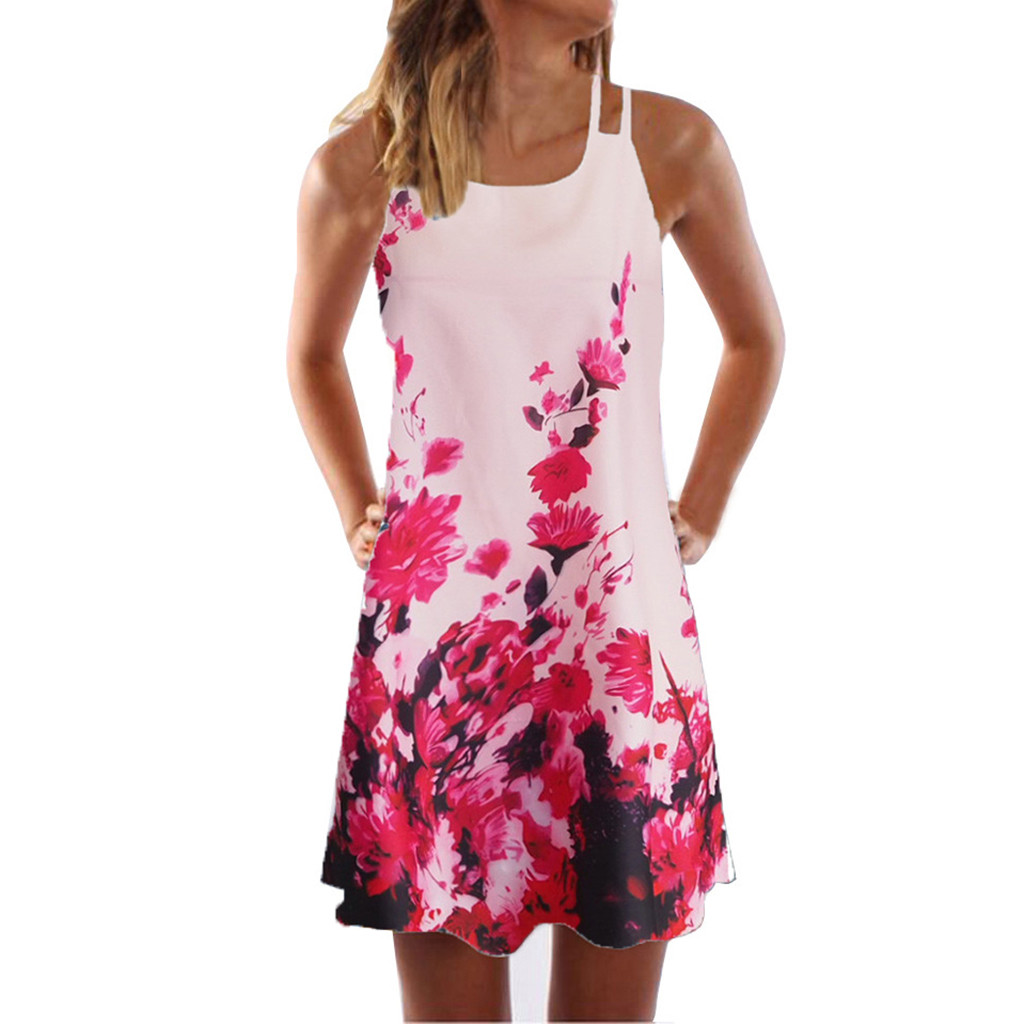 Vintage Boho Women Summer Dress Sleeveless Beach Flower Printed Short Mini dresses woman party night beach Vintage Boho Women Summer Dress Sleeveless Beach Flower Printed Short Mini dresses woman party night beach dresses vestidos NEW
