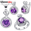Wholesale Drop Shipping Wedding Purple Bridal Bridesmaid Jewelry Set Ring Necklace Earrings Cheap Costume Jewelry Uloveido T462