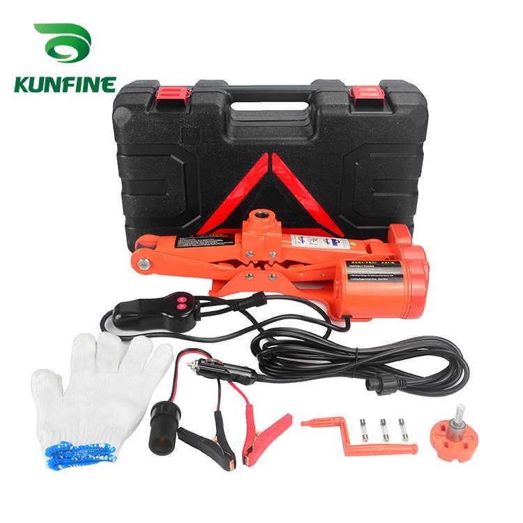 KUNFINE przenośny podnośnik samochodowy 12V 3Ton podnośnik elektryczny podnośnik automatyczny podnośnik nożycowy podnośnik maszynowy podnośnik Muti