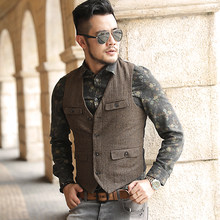 Men new winter army green woolen multi-pockets suit vest slim Men military brand casual European style vest waistcoat M127(China)
