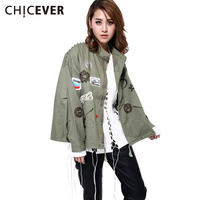 CHICEVER 2016 Korean Embroidery Patch Design Army Green Jacket Coat Rivet BF Tide Women