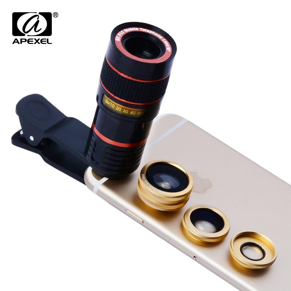 imágenes para 4 in1 8X Teleobjetivo Telescopio Clip de 180 Grados de ojo de Pez de Gran Angular foto macro zoom lens kit para htc iphone android teléfonos 19cx3