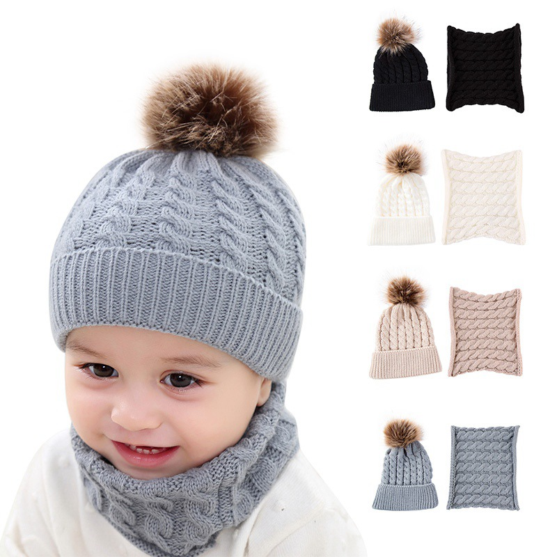 799f8b304d24a6 Knitted Baby Hat For Girls Boys Winter Warm Baby Accessories Set Beanie Caps+Scarfs  Baby