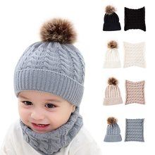 Knitted Baby Hat For Girls Boys Winter Warm Baby Accessories Set Beanie Caps+Scarfs Baby Cap 2 pcs Suits(China)
