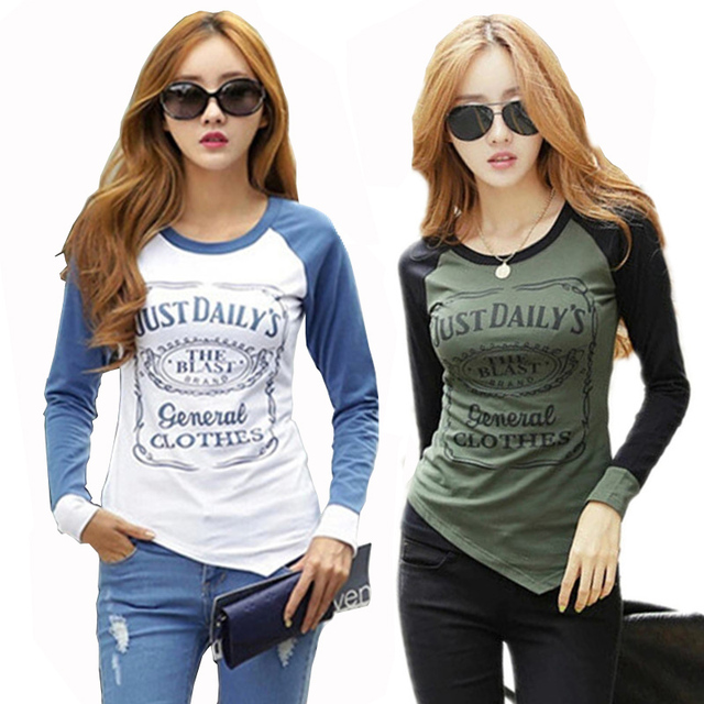 Fashion T shirt Women Cotton Long Sleeve Tshirt  Patchwork Raglan Sleeve T-shirts for Women Plus Size Female T-shirt Winter Tops