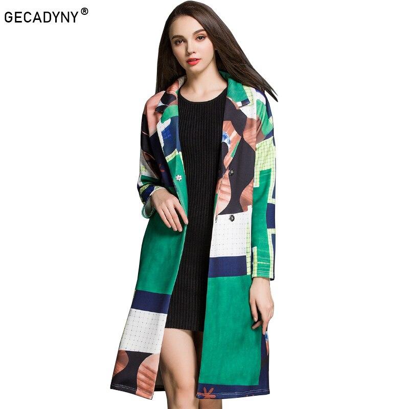 GECADYNY European style print trench coats Fashion woman floral print belted windbreak coat 2018 spring runways elegant overcot