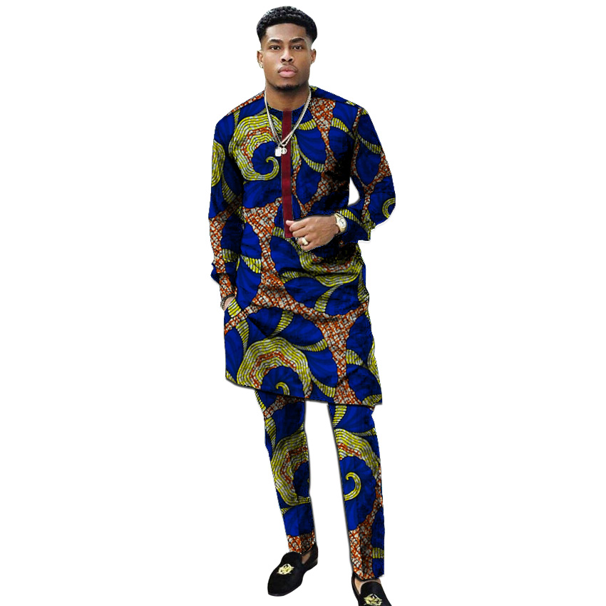 African Clothing Men S Print Set Shirt With Trouser Patchwork