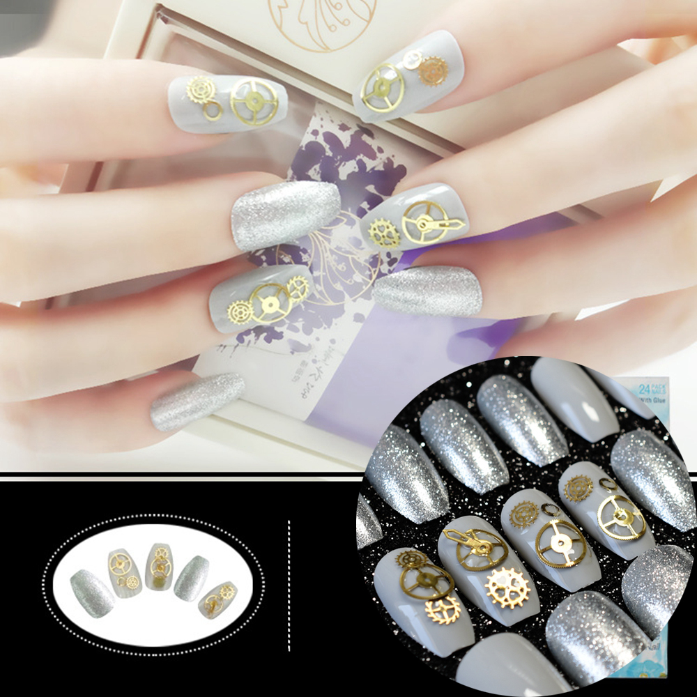 Jewel Nails Grey Shiny Coffin Nails Medium Gearwheel Decoration Fake ...