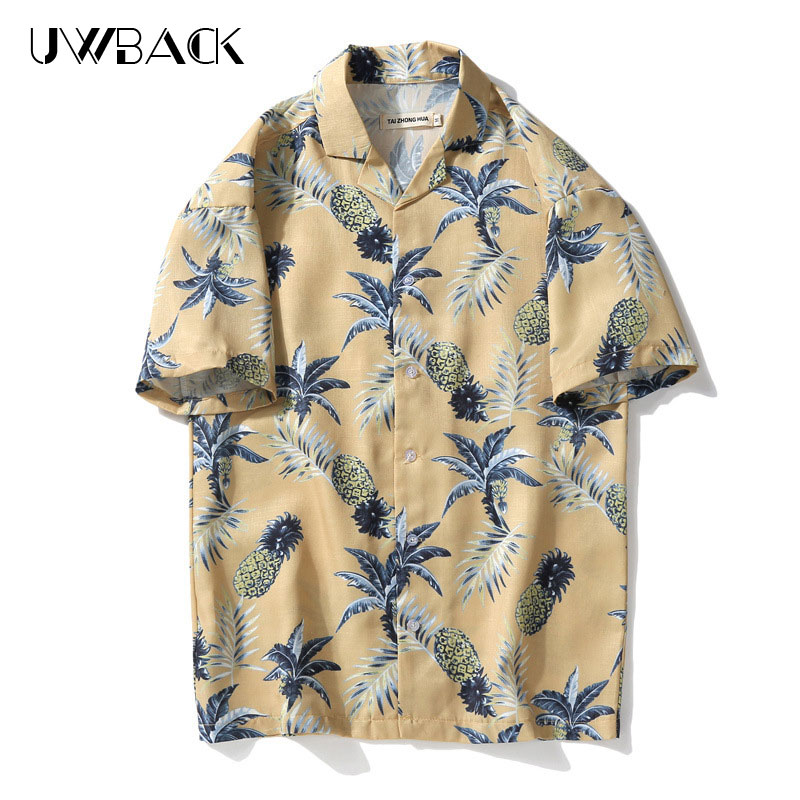 Uwback Floral Casual Shirts 2018 Summer Men Hawaii Shirts Breathable Chemise Homme Loose Cotton Beach Shirts Manche Courte XA554