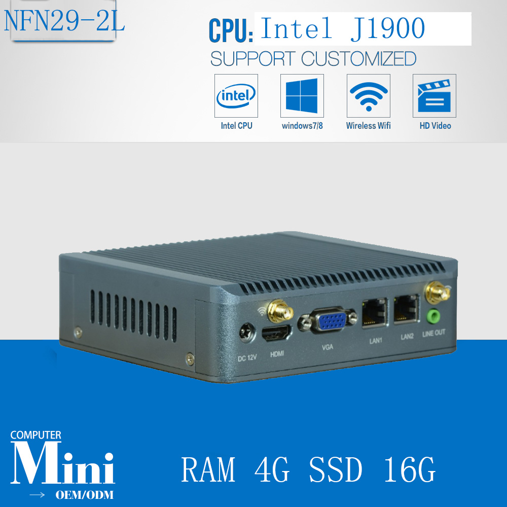 4G RAM 16G SSD Fanless Micro Tablet PC Case HTPC Celeron Quad Core J1900 Living Room Nano PC Linux