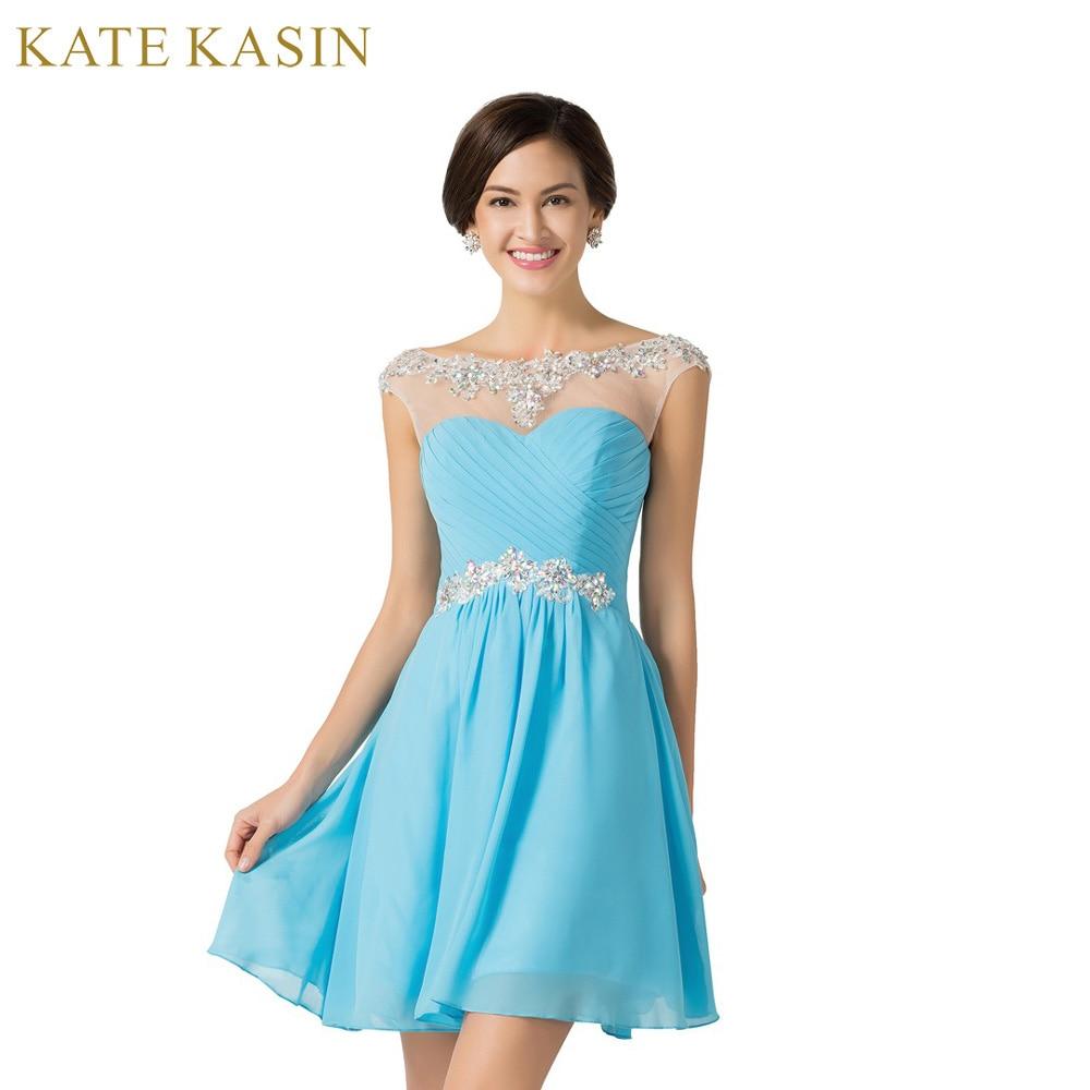 2017 New Design A-line Short Dresses Scoop Neck Cocktail Party dress Lace-up Veatidos de Festa Abito Cocktail Dress Blue 7536