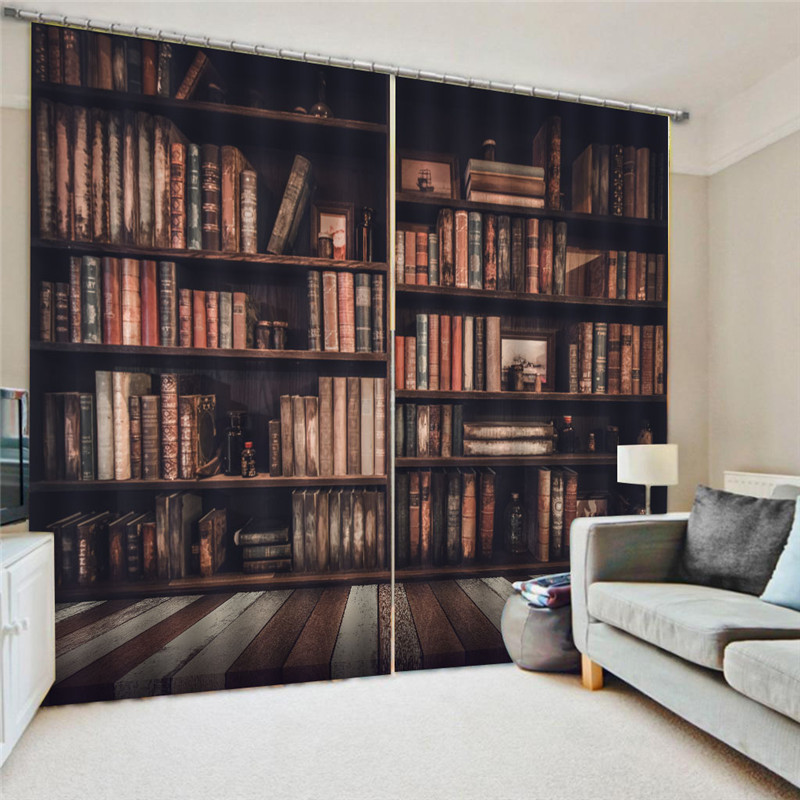 Bookcase Living Room Digital Print 3D Blackout Curtains
